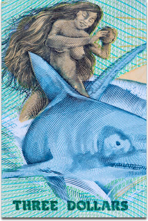 Image of a close-up of a $3 bill from the Cook Islands.